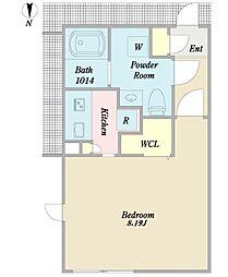 Branche御器所 5階ワンルームの間取り