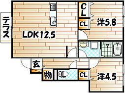 福岡県北九州市若松区迫田町の賃貸アパートの間取り