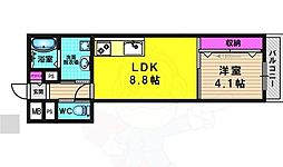 阪急京都本線 桂駅 徒歩14分の賃貸アパート 1階1LDKの間取り