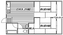 大阪府高槻市大蔵司1丁目の賃貸アパートの間取り