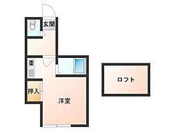Lila桜川 1階ワンルームの間取り