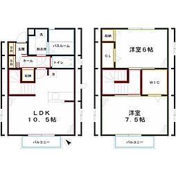 JR中央本線 西国分寺駅 徒歩16分の賃貸アパート 2階2LDKの間取り