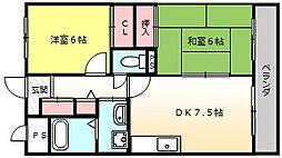 カーザオクノ[4階]の間取り