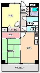 大阪府大阪市東住吉区鷹合1丁目の賃貸マンションの間取り