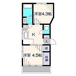 東京都東久留米市八幡町3丁目の賃貸アパートの間取り