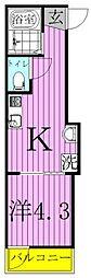 ブリリアントコート梅島 3階1Kの間取り