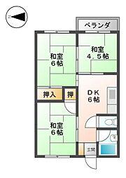 コーポアジマ[5階]の間取り