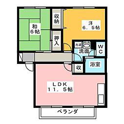 コーポアドラシオンA[2階]の間取り
