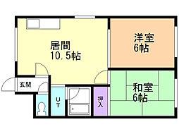 福尾ビル 4階2LDKの間取り