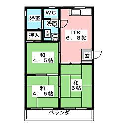 コーポアキヤマ[3階]の間取り