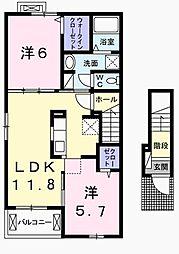 JR青梅線 河辺駅 バス13分 万場坂下車 徒歩3分の賃貸アパート 2階2LDKの間取り