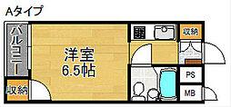 ポアール住之江[4階]の間取り
