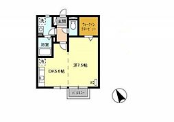 リースランドウェストヴィラ A棟[2階]の間取り