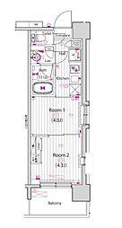 都営新宿線 東大島駅 徒歩14分の賃貸マンション 10階2Kの間取り
