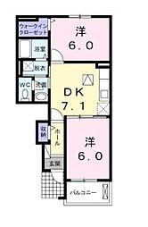埼玉県所沢市小手指南4丁目の賃貸アパートの間取り