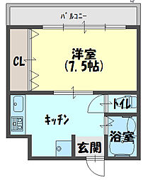 IHマンション 3階1DKの間取り