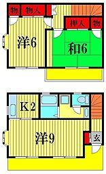 [テラスハウス] 千葉県松戸市岩瀬 の賃貸【千葉県 / 松戸市】の間取り