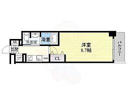 京阪本線 北浜駅 徒歩2分の賃貸マンション 13階1Kの間取り