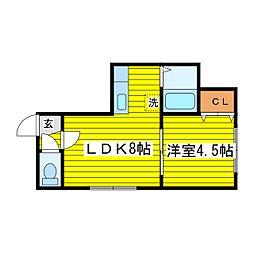 北海道札幌市東区北十七条東10丁目の賃貸アパートの間取り