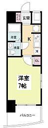 セレニテ桜川駅前プリエ 13階1Kの間取り