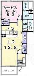 コンコルディア武庫之荘 1階ワンルームの間取り