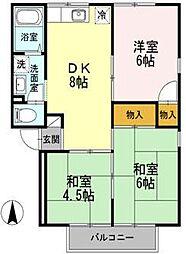 愛媛県松山市石手白石の賃貸アパートの間取り