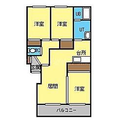 パークハイツF[3階]の間取り