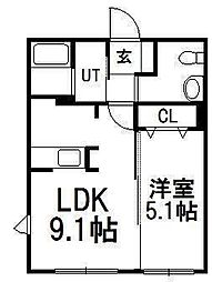 北海道札幌市西区琴似四条6丁目の賃貸マンションの間取り
