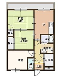 西村マンション[307号室]の間取り