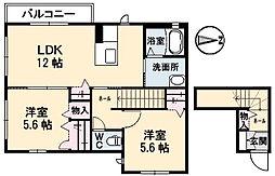 広島県呉市溝路町の賃貸アパートの間取り