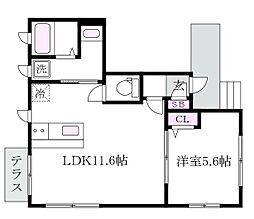 東京都杉並区下井草5丁目の賃貸アパートの間取り