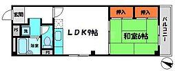 福島マンション 3階1LDKの間取り
