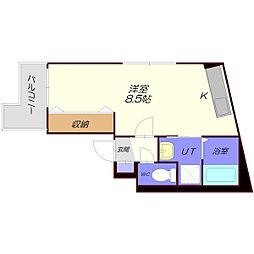 Arex野幌II(アレックス) 2階ワンルームの間取り
