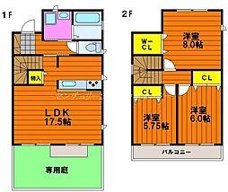 [一戸建] 岡山県岡山市北区大供本町 の賃貸【/】の間取り