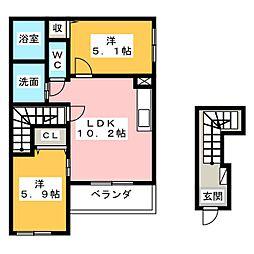 愛知県北名古屋市久地野河原の賃貸アパートの間取り