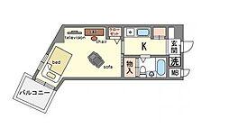 家具・家電付き 天神エクセル12 B[2階]の間取り
