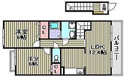 ガーデンハウス和み[202号室]の間取り