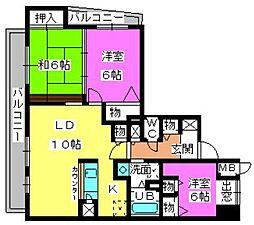 グランシャリオ高宮[11階]の間取り