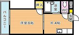 シャトレ穴生I[1階]の間取り