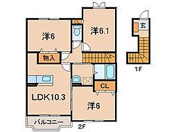 和歌山県日高郡日高町大字荊木の賃貸アパートの間取り