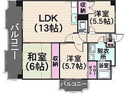 福岡県福岡市南区弥永3丁目の賃貸マンションの間取り
