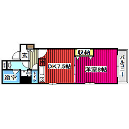 JR仙山線 北仙台駅 徒歩5分の賃貸マンション 2階1DKの間取り