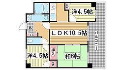 兵庫県神戸市灘区山田町2丁目の賃貸マンションの間取り