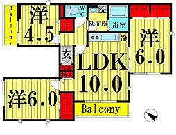 東京都足立区西伊興4丁目の賃貸アパートの間取り
