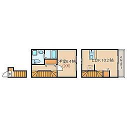 ラフォンテ中野哲学堂 2階1LDKの間取り