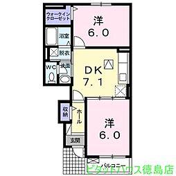 Villa 鶴島A[102号室]の間取り