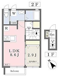 仙台市営南北線 北仙台駅 徒歩8分の賃貸アパート 2階1LDKの間取り