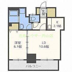 ティアラタワー中島倶楽部(I) 9階1LDKの間取り