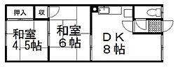 中村ハイツA 2階2DKの間取り