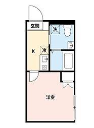 カインドネス所沢宮本町A棟 2階1Kの間取り